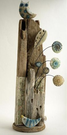 Shirley Vauvelle, Mixed Media Artist / Owl and little bird (Earthernware, driftwood,vintage map, 36cm x 9cm x 9cm)