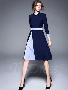 Tbdress.com offers high quality Single-Breasted 3/4 Sleeve Double-Layered Women's Day Dress Day Dresses unit price of $ 34.99.