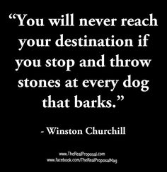 You will never reach your destination if you throw stones at every dog that barks. No need to feed into negative attention. Wise Quotes, Famous Quotes, Great Quotes, Quotes To Live By, Motivational Quotes, Inspirational Quotes, Wise Sayings, Churchill Quotes, Winston Churchill