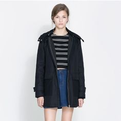 Navy Blue Zara Heavy Twill padded coat in Small Classic Navy Blue Heavy Twill coach with removable zip hood from Zara. Golden soft padded lining gives it extra warmth.  Oversized patch pockets in front. Machine washable wool blend. Size small. Gently worn. Looks brand new! Zara Jackets & Coats