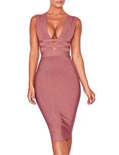 Hego Women s Coffee Cut Out Club Party Bandage Bodycon Dresses for Special  Occasion H5696 (Coffee a8e2aaaa3