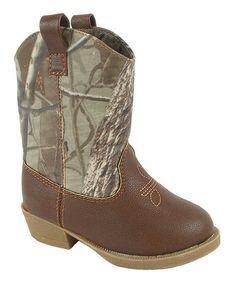 Baby Deer Brown & Camo Cowboy Boot   zulily