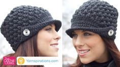 Crochet this hat called the Women's Peaked Hat. It's a vintage design with a flair to the brim using a button to fold up the brim on the sides.