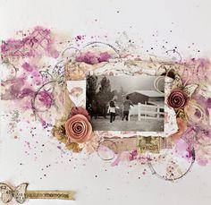 Tiffanys Paper Designs: April Scraps of Elegance Mixed media layout. Captured Memories.