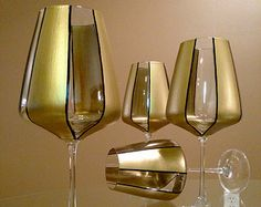 Elegant Gold'  In stock. Hand painted red wine glasses.  Price is for set of two.