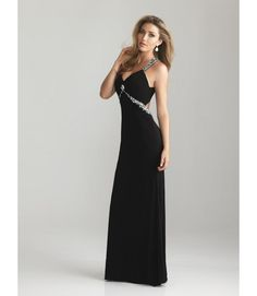 by Night Moves #6614 Fit for the Red Carpet! Beautiful silhouette, will work best on a tall slim figure. Available at Catan Fashions in Strongsville, OH www.catanprom.com