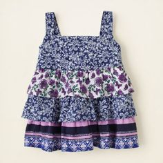 baby girl - tanks & camis - tiered mixed print tank top | Children's Clothing | Kids Clothes | The Children's Place
