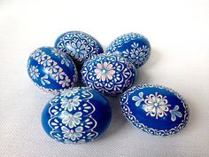 Set of 6 Blue Hand Decorated Colours Painted Chicken Easter Egg, Traditional Slavic Wax Pinhead Chicken Egg, Kraslice, Pysanka