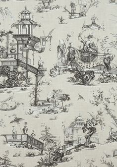 CHENG TOILE, Beige and Black, F975469, Collection Dynasty from Thibaut