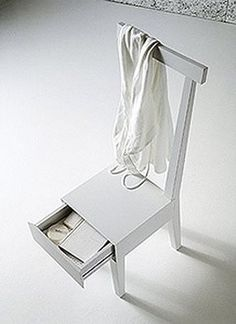 Build this chair with a drawer AND add a shelf below if space warrants. Talk about maximizing space!!