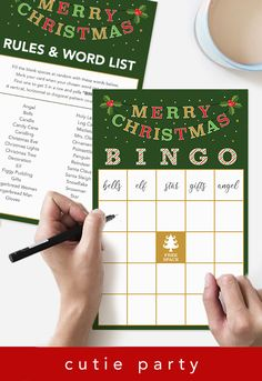 Click the image to purchase ready made Christmas celebration bingo game. Accompanied with suggested words, make it easier for you and your guests to play. Christmas Bingo Printable, Christmas Bingo Game, Bingo Games, Card Games, Christmas Lights, Christmas Decorations, Bingo Party, Holiday Parties, Spice Things Up
