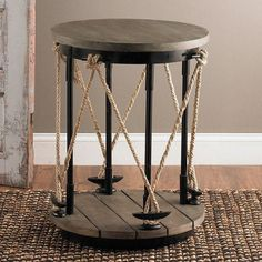 The modern lines are juxtaposed with rustic materials on this nautical inspired side table. With a slatted wood bottom and dockline details, this unique. Coastal Living Rooms, Living Room Grey, Living Room Decor, Coastal Bedrooms, Brown And Blue Living Room, Nautical Home, Nautical Bedroom Decor, Nautical Bath, Nautical Interior