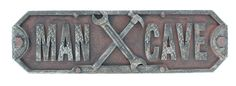 Man Cave Plaque / Sign Wrench and Hammer Tools Welded Metal Look  -  $15.99  -  man cave signs, man cave decor, man cave ideas  -  www.ultimatemancaveshop.com