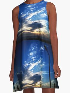 Urban Sunset A Line Dress   by Scar Design #summerclothing #summervacationsdress #beachdress #beach #summerfashion #giftsforher #gifts #giftsforteens #summergifts #womensfashion #hipster #colorful #style #swag #sunset #sunsetdress #dress #summerdress #sum
