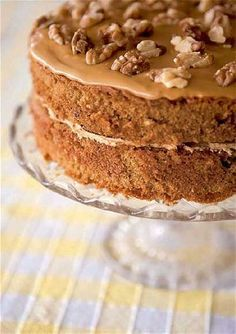 Coffee and walnut cake The bitter-sweet flavours of this traditional cake make it an all-time favourite. I like to use Camp chicory & coffee essence for the coffee taste, but instant coffee dissolved in a little boiling water works just as well.