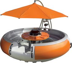Doesn't really seem safe, but this is a floating deck! complete with umbrella and gas grill!