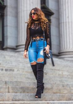 Mike Askew wearing Lace Crop Top, Refuge Denim Hi-Waist Skinny Destroyed Jeans and Thigh High Chunky Heel Boots BLACK