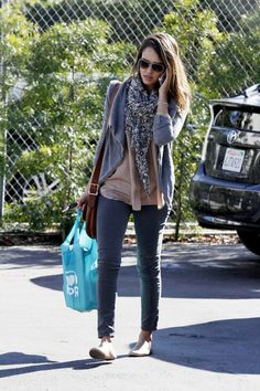 Jessica Alba Cardigan  Jessica Alba maintained her effortless street style with an open front cardigan and a ditsy print scarf.