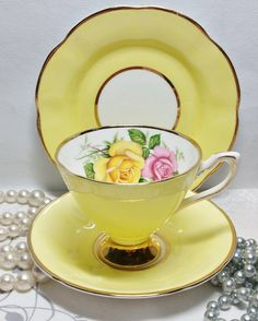 Vintage Cavour Ware Etruria Bone China Trio ~ Cup, Saucer And Tea Plate ~ Yellow Harlequin With Pink And Yellow Roses