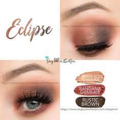 Eclipse Eye Trio uses three SeneGence ShadowSense : Copper Rose Shimmer, Limited Edition Bandana Shimmer and Rustic Brown. These creme to powder eyeshadows will last ALL DAY on your eye. #shadowsense #trio  #eyeshadow