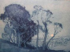 """yama-bato: """" Sydney LONG Moonrise on the Lake Courtesy of Theodore Bruce Auctions © Sydney Long or assignee Etching and aquatint, signed Sydney Long entitled and numbered softground, 26 x Nocturne, Landscape Art, Landscape Paintings, Intaglio Printmaking, Etching Prints, Australian Artists, Albrecht Durer, Art Forms, Watercolor Art"""