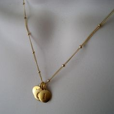 Three personalized gold disc necklace