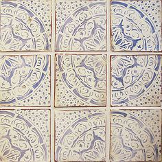Reminiscent of pottery from Fez Morocco. Artisan hand-crafted tile, Maghreb 1 colonial blue on off white.
