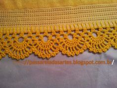 You certainly have seen one or another crochet nozzle around, even if you didn't know that was the name. This is because the crochet nozzle, which is also Crochet Boarders, Crochet Edging Patterns, Crochet Lace Edging, Crochet Trim, Love Crochet, Filet Crochet, Diy Crochet, Vintage Crochet, Crochet Designs