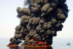 A controlled burn of oil from the Deepwater Horizon/BP oil spill sends towers of fire hundreds of feet into the air over the Gulf of Mexico on June (Photo by Coast Guard Petty Officer First Class John Masson / CC BY-ND - When will we ever learn ! Apocalypse, Deepwater Horizon Oil Spill, Bp Oil, Oil Platform, Ocean Pollution, Edible Oil, All Nature, Deep Water, Environmental Issues
