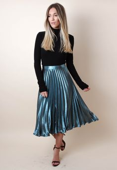 Virtuous Christian ladies that love wearing nice pleated skirts, or pleated dresses, as part of their nice, feminine, and proper attire. Pleated Skirt Outfit, Metallic Pleated Skirt, Satin Skirt, Skirt Outfits, Dress Skirt, Midi Skirt, Pleated Skirts, Teal Skirt, Modest Dresses