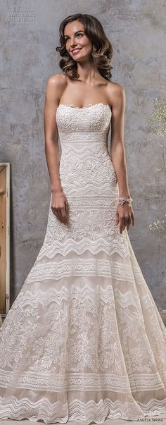 amelia sposa fall 2018 bridal strapless semi sweetheart neckline full embellishment elegant trumpet wedding dress keyhole back sweep train (3) mv -- Amelia Sposa 2018 Wedding Dresses