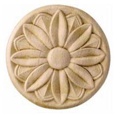 Corbels: Wood Ornament, Round, Flower, Carved, Rose Design, 3-15/16'' Diameter x 5/16'' D, Oak by Hafele | KitchenSource.com