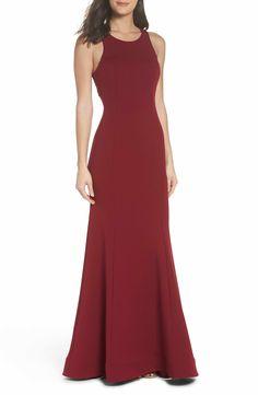 faaf634b9b0 Main Image - Sequin Hearts Ruffle Back Scuba Gown Prom Dresses Under 200