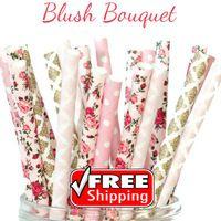 200 stücke Gemischt 4 Designs Röte Bouquet Themen Papierstrohe-Gold, Rosa, Bunte-Damast, Dot, Blume, Blumen-Baby Dusche, Hochzeit