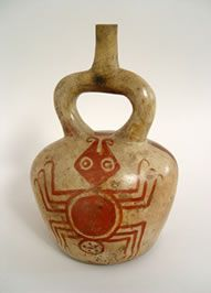 ancient peruvian pottery | Peru Mochica stirrup-spout vessel with zoomorphic design