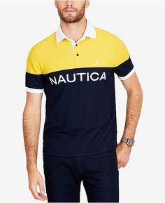Nautica Men's Classic Colorblocked Classic Fit Polo - Blue S Best Mens T Shirts, Mens Polo T Shirts, Golf Shirts, Camisa Polo, Hollister, Polo Design, Mens Big And Tall, My T Shirt, Shirt Designs