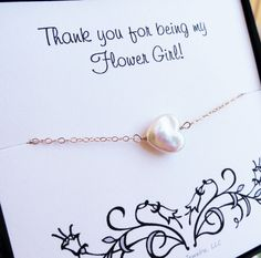 Flower girl thank you card with Freshwater pearl by OtisBWeddings, $22.50