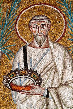 Polycarp, with his crown of life, promised to him by his Lord St Polycarp, Ravenna Mosaics, Land Of The Living, Spiritual Formation, Rejoice And Be Glad, 1st Century, World Religions, Early Christian, Religious Icons