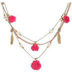 Betsey Johnson Rose Illusion Necklace (205 RON) ❤ liked on Polyvore featuring jewelry, necklaces, accessories, women, feather charm necklace, chain pendant necklace, rose necklace, illusion necklace and chain necklace