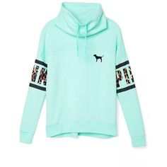 Victoria's Secret PINK Leopard Print Cowl Neck Pullover Sweater Mint... ($119) ❤ liked on Polyvore featuring tops, sweaters, long-sleeved shirts, mint green shirt, leopard print shirt, victoria secret sweaters, blue leopard print shirt and long sleeve pullover shirts