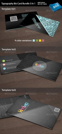 Typography Business Card Bundle 3 in 1