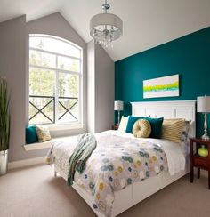 54 ideas bedroom paint blue teal accent walls for 2019 Teal Accent Walls, Accent Wall Bedroom, Teal Walls, Gray Bedroom, Trendy Bedroom, Bedroom Colors, Home Decor Bedroom, Modern Bedroom, Bedroom Ideas