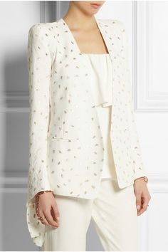 Chloé gold-embroidered cream jacquard blazer