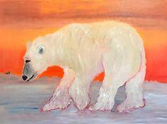 "Ice Fishing-Polar Bear Fine Contemporary Art Oil Painting ""Ice Fishing"" by Oklahoma Artist Nancy Junkin"