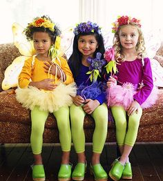 Help a trio of pretty pixies take flight! All you need for this set of costumes are floral headbands (glue fake flowers to a headband), flower wands (glue flowers and ribbons to the tip of a painted stick), gossamer wings, puffy tutus, and leggings.