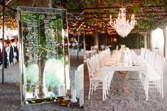 Don't know what I love more....the estate tables? Chandelier? or this stunning mirror used as seating chart?