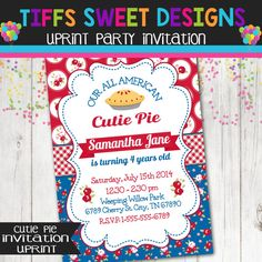 All American Girl Invitation  Shabby  Cutie by TiffsSweetDesigns