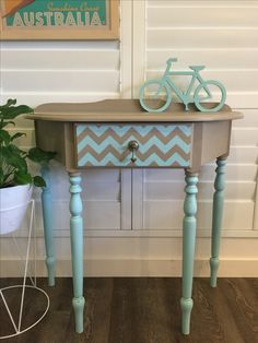 Demilune console table handpainted chevron pattern in Mezzie and Frank Chalk Effects Paint Noosa and Kakadu