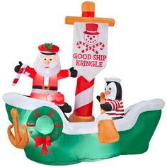 shop gemmy inflatable airblown good ship kringle outdoor christmas decoration with incandescent white constant at - Lowes Inflatables