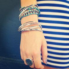 Silver style arm party #jewelry #bracelets